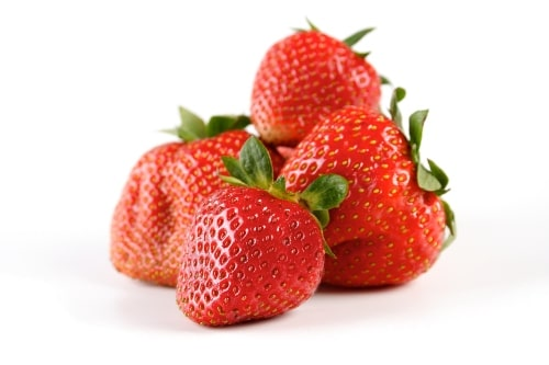 healthy fruit red strawberries on white background