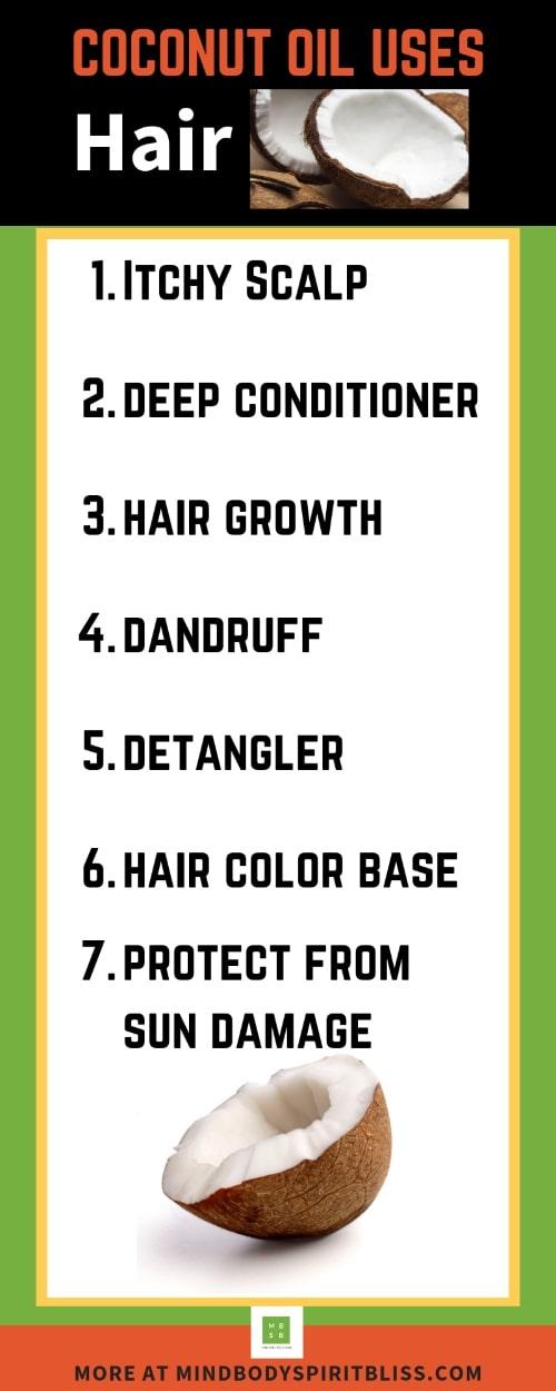coconut oil hair list use infographic