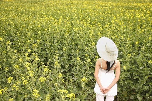 woman looking out at field