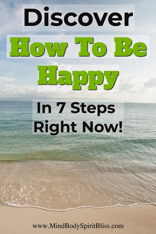 how to be happy pin with beach background