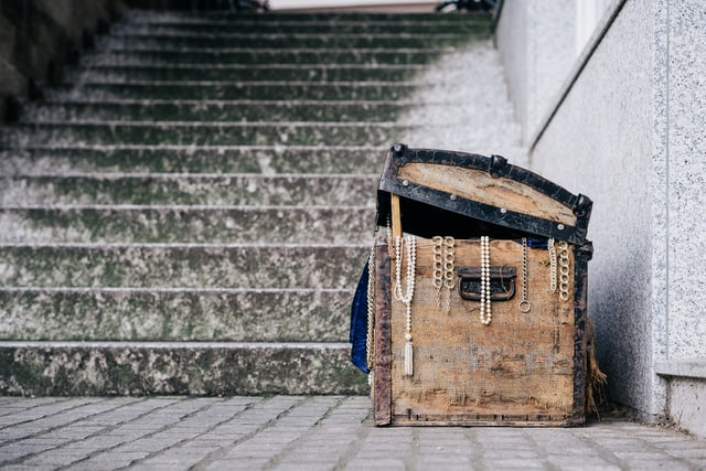 Treasure chest at bottom of stairs