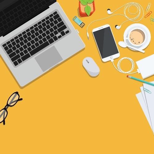 yellow office workspace design