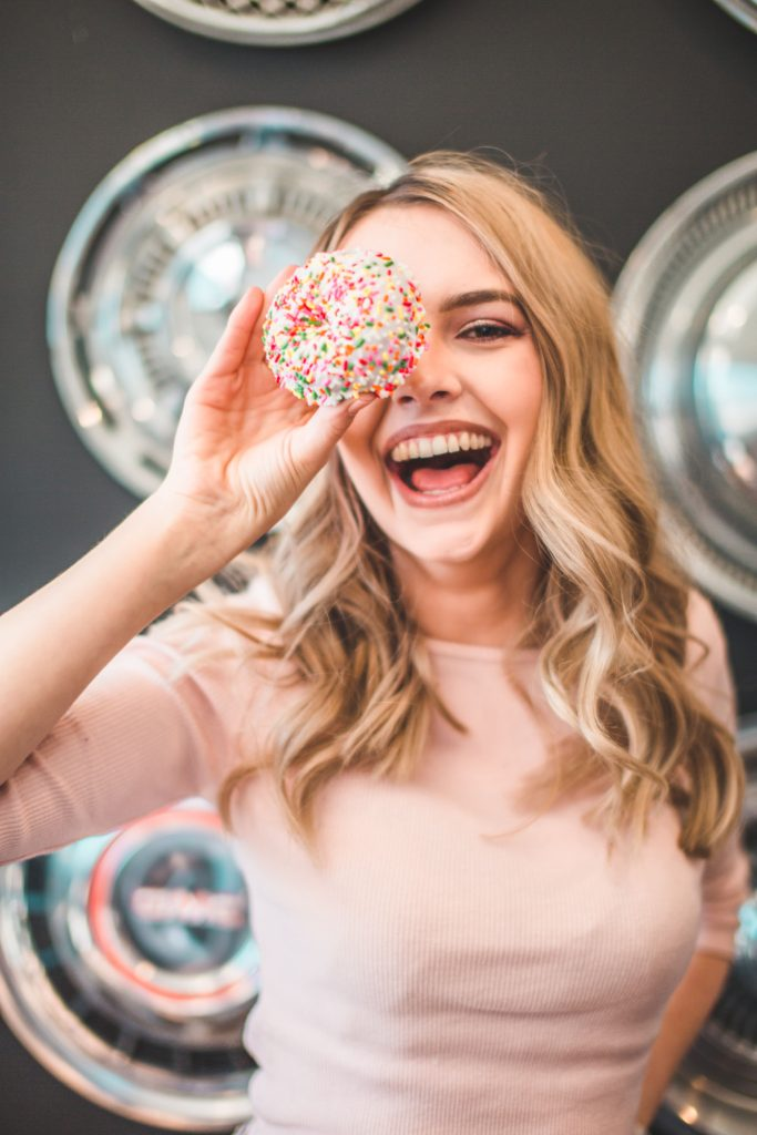 woman celebrating her goals