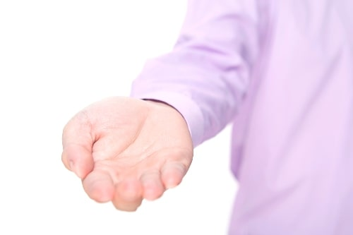 man hand outstretched
