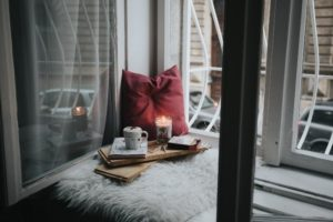 window seat with candles