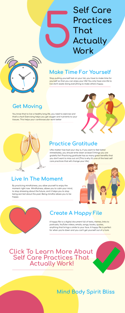 5 self care practices that actually work infographic