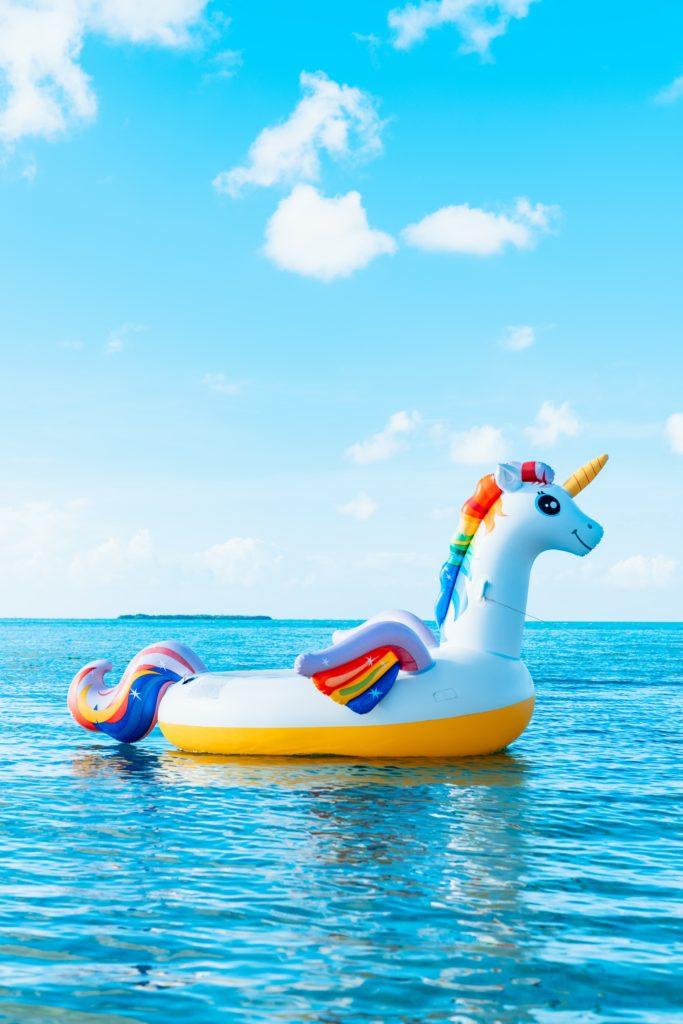 Unicorn raft floating in the ocean